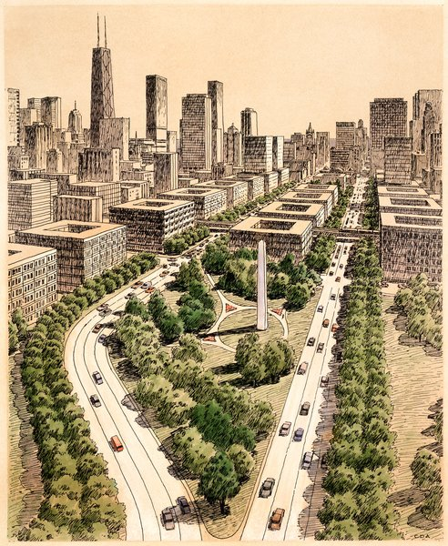 Here, in a perspective drawing from 1983 for the Chicago masterplan, Diniz invites the viewer down a wooded highway into the city center.