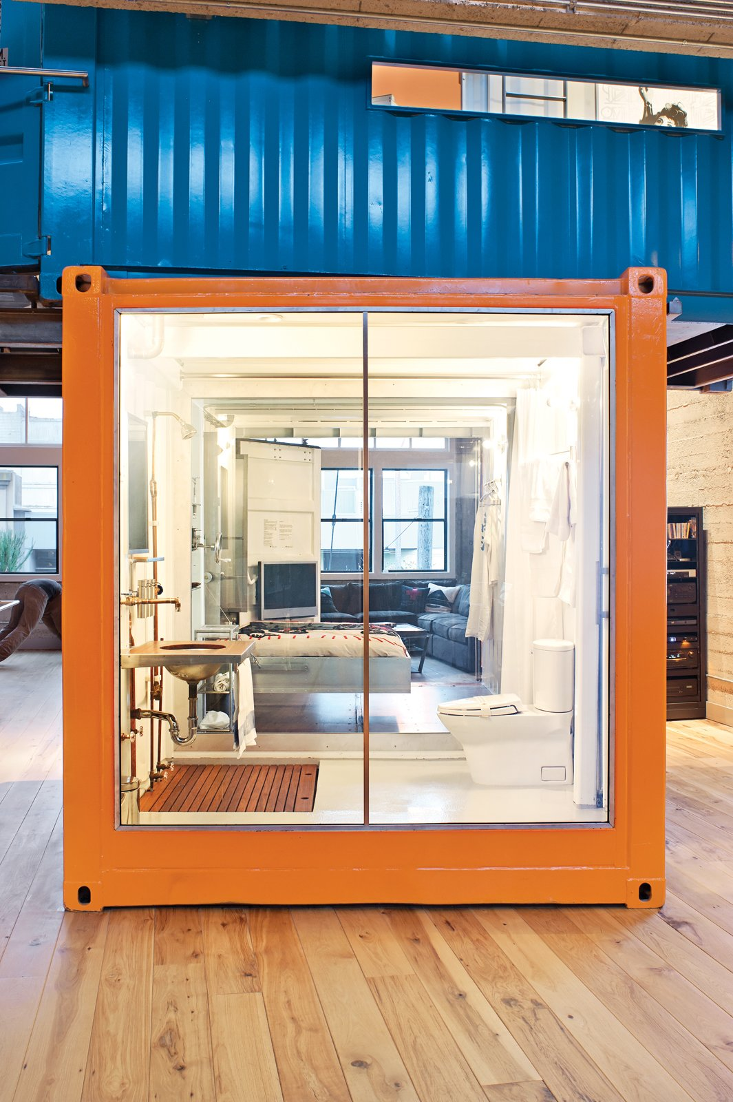 With the flick of a switch, the glass goes from opaque to clear. Tagged: Exterior and Shipping Container Building Type.  Shipping Containers by Dwell from Modern Shipping Container Home in San Francisco