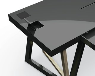 Unlike your typical sawhorse desk, which often comprises a pair of struts and a board as the desktop, the QuaDror system can support a much sleeker aesthetic.