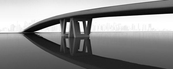 Essentially the same as the trestle desk, here the QuaDror joints are blown up to a massive scale and used to support a bridge.