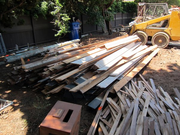 Sorted lumber ready for collection.