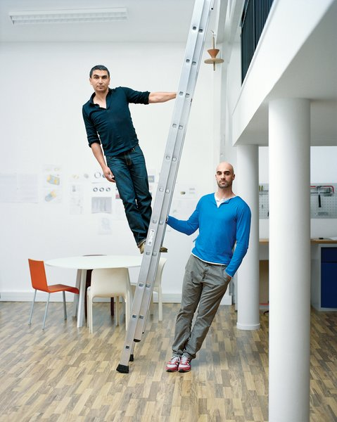 Designers Jean-François Dingjian (left) and Eloi Chafaï (right), cofounders of Normal Studio, inside their firm's new studio in Montreuil, a suburb east of Paris, France.