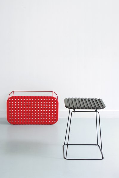 Created for ENO (Editor of New Objects) in 2008 and available in three sizes, the Ajours table features a latticed lacquered-wood seat affixed to a steel base.