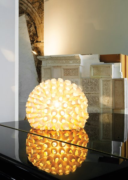 The glowing anemone-like lamp is from Vinçon in Barcelona.