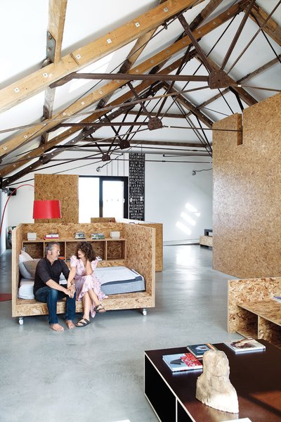 Mobile Nap  Turner made much of the barn's furniture from OSB, but the mobile daybed   on wheels is a standout piece and allows the user to catch the sun or shade as the mood strikes.