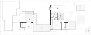 The second floor plan: 1. Rooftop garden, 2. Media room, 3. Guest bedroom, 4. Bathroom, 5. Deck.