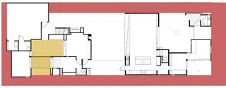 This diagram shows the front, side and rear setbacks marked in red. These are areas where no building can take place. The front setback, shown on the right side, is deeper than this cropped image shows. The yellow area represents compulsory separation between the master bedroom and the garage with attached recreation room.