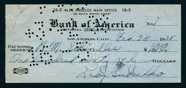 This piece of ephemera started it all: Bubeshko's first check to Schindler, which kicked off the design process.