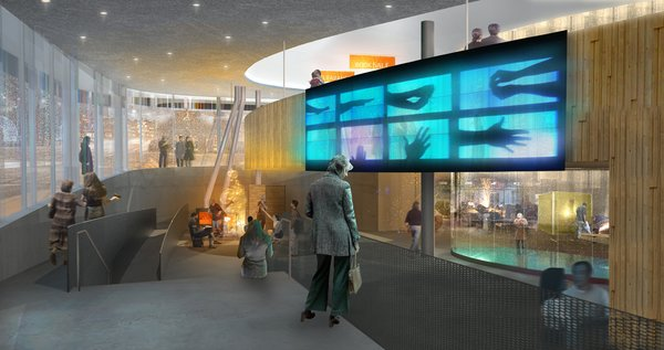 An interior from Bruder's design emphasizes openness to the street and big galleries.