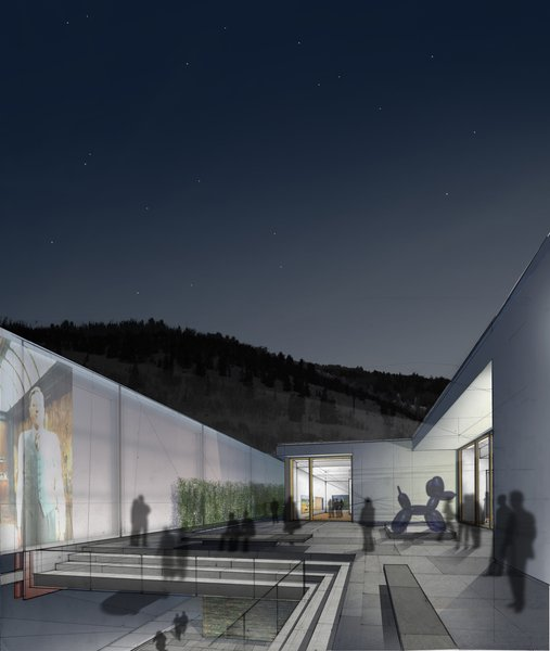 The Sky Room on the roof of the Williams Tsien entry is one of the many that makes use of a newly expanded roof space. With a sculpture garden and a spot to screen movies under the big Utah sky, its appeal is obvious.