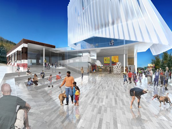 This entry from the L.A. firm Brooks and Scarpa has a lot going for it, namely the hovering white form to be made of polypropylene. It's meant to evoke the clouds of the Utah sky, but what grabs me most is the big public plaza at Main and Heber. It's the only design that really turns the busiest corner in town into a public space. This design also retains the integrity of the Kimball Bros. garage, the brick structure off to the side.