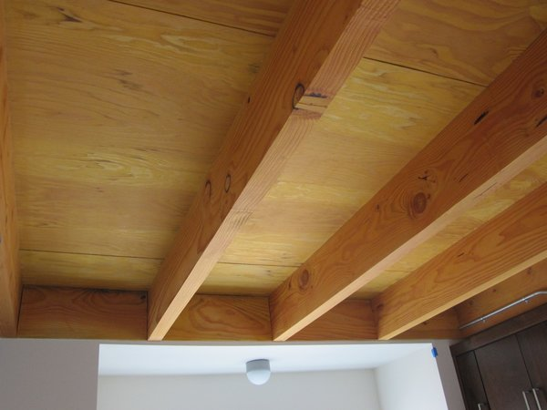 FSC-certified exposed framing and plywood was a resource-efficient step which helped to create modern ceilings.
