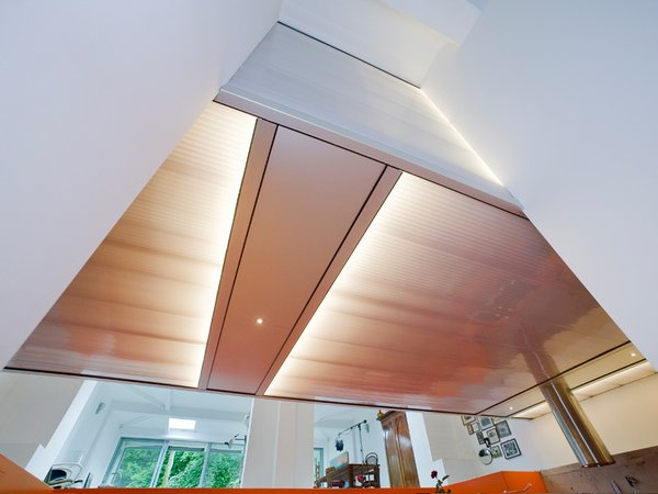"""The """"lightbox,"""" seen from below, adds illumination and quirky interest to the space. Photo 5 of Parksite Residence, Rotterdam modern home"""