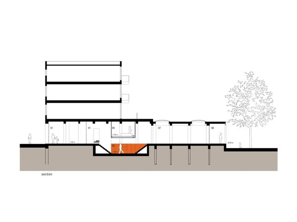 The section showing the dugout in orange.  Don't miss a word of Dwell! Download our  FREE app from iTunes, friend us on Facebook, or follow us on Twitter! Photo 10 of Parksite Residence, Rotterdam modern home