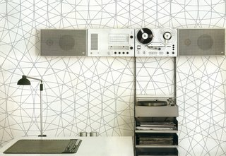 Fantastical Walls - Photo 2 of 3 - The graphic Rosace print which nicely complements, say, a Dieter Rams sound system.