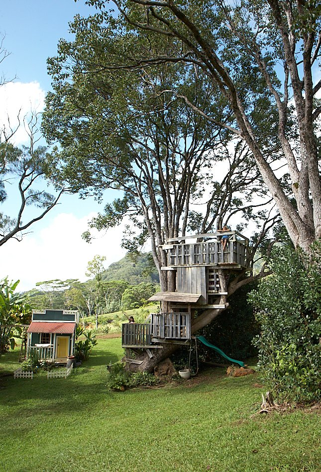 Made from wooden pallets, the tree house was a requirement for the kids in this Hawaiian home. Photo by: Linny Morris  Examples of Modern Communal Living by Megan Hamaker from Grateful Shed