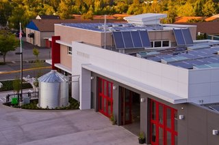 zHome has influenced a number of other projects. Fire Station 72, built by the City of Issaquah, reduces energy use to about 1/3 of that used by the typical fire station. It shares a number of zHome technologies, including ground source heat pumps, heat recovery ventilation, a high performance thermal envelope, and nearly 80% FSC certified wood. It goes even further than zHome with solar hot water heating tied into the ground source heating, and a 9,000 gallon cistern. Photo courtesy of TCA Architecture-Planning.
