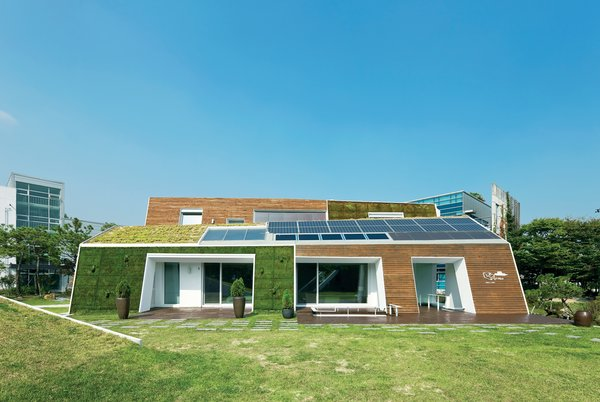 The E+ Green Home, a concept house located an hour outside Seoul, not only points the way to a greener South Korea, it may well be the most sustainable house in the country.  Read more: http://www.dwell.com/slideshows/E-for-Effort.html?slide=1&c=y&paused=true#ixzz26xvWPsS7  Photo 1 of 10 in Modern Green Concept House in South Korea