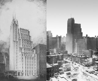 Ralph Walker Renaissance - Photo 1 of 3 - At left, a preliminary drawing of the Telephone Building at 212 West 18th Street from the late '20s. The building at completion, photographed in 1931 (at right), which shows the lack of a full-height spire, something the Walker Tower developers are planning to add back at penthouse level.