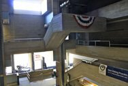 View of interior space and pathways in the Orange County Government Center by Paul Rudolph in Goshen, NY.