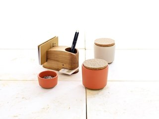 New Summer Colors from Heath Ceramics - Photo 3 of 4 - This Desk Set, which retails for $185, includes two containers with screenprinted cork lids, a small bowl, and a Wood Whale, designed by Eric Pfeiffer at the Utility Collective, and handcrafted in Michigan using reclaimed timbers.