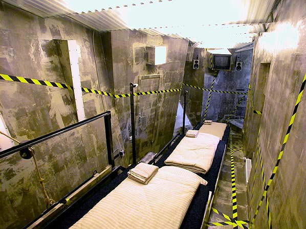Propeller Island Hotel, Berlin - Photo 4 of 9 - This long, narrow room is modeled after, what else? A mineshaft. Each bed is on a terrace and the walls are tilted for that homey, claustrophobic feeling.