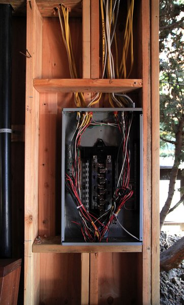 Electrical spaghetti converges at the panel box.