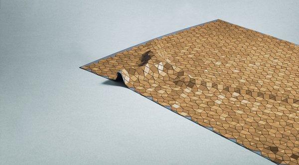 Elisa Strozyk's Mortimer Wooden Carpet is made of teak veneer mounted on linen.