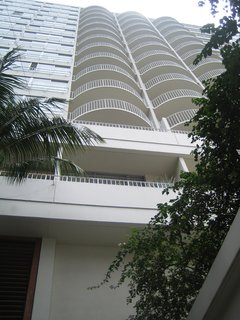 The Modern Honolulu - Photo 1 of 12 - It was tough to get a decent shot of the white, thoroughly modern facade of the Modern Honolulu, but this back-bending perspective shows how the clean geometry of the building plays off the lush foliage. I took this photo from the entry of the hotel.