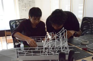 The Making of Screenplay: Part 4 - Photo 5 of 5 - Here we are building the frame using polystyrene sticks.