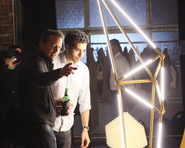 Designer Marc Thorpe illuminated by Bec Brittain's SHY Floor Light.