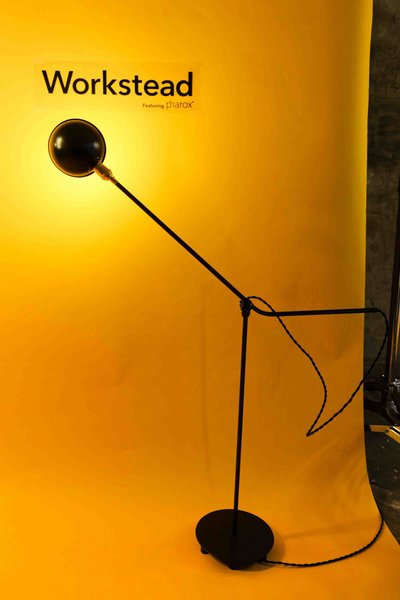 The Brooklyn-based design duo Stefanie Brechbuehler and Robert Andrew Highsmith utilized a re-purposed O.C. White industrial joint and brass socket to create this unique floor lamp. The arm can be articulated in multiple axes; the joint allows for 360 degrees of rotation.