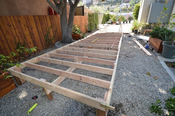 Platform is being framed out in 2' x 6' wood studs.