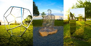 """Surveying Frieze New York - Photo 9 of 10 - Frieze sculpture garden featuring (L-R) Pollux by Tomas Saraceno, figurative sculpture by Jaume Plensa, and Jeppe Hein's """"Geometric Mirror I."""""""