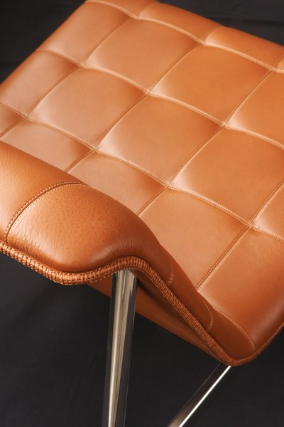 Stitched-leather detail of the new CP Lounge chair.