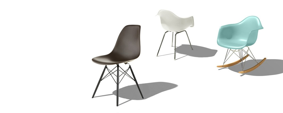 The iconic shell chair, designed by Charles and Ray Eames in 1948 and frequently knocked-off since. Today Herman Miller makes the shell from 100% recyclable polypropylene (a.k.a. molded plastic), a more eco-friendly option than the original fiberglass.  Midcentury Homes by Dwell from Q&A with Herman Miller's Marg Mojzak