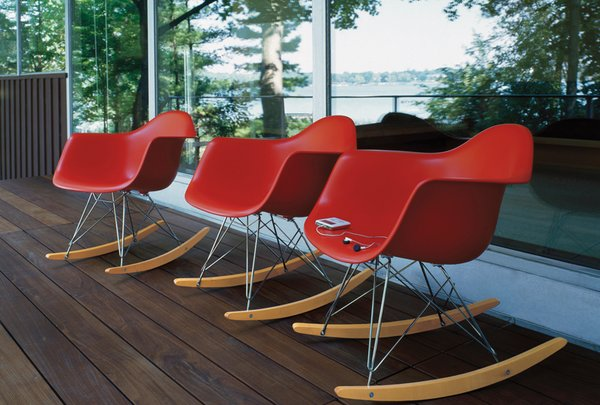 The Eames shell chair also comes in a rocking chair version, and in a slew of colors.