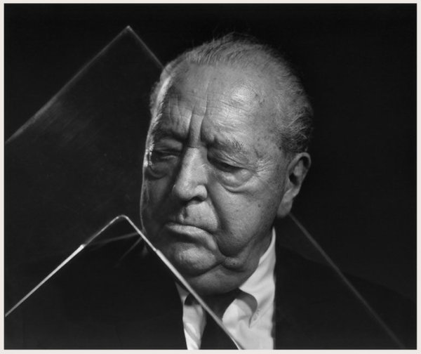 Karsh's portrait of Mies van der Rohe in his Chicago apartment.
