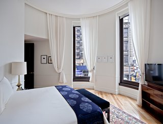 A few of the hotel suites are situated in the building's corner cupola.