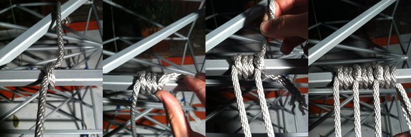 We terminate one piece of rope by wrapping the next piece of rope around the end of it.  Only the very last rope in the sequence will then be crimped with hardware.  This really helps us minimize the amount of hardware we had to use on the project. Photo by Clifford Ho.