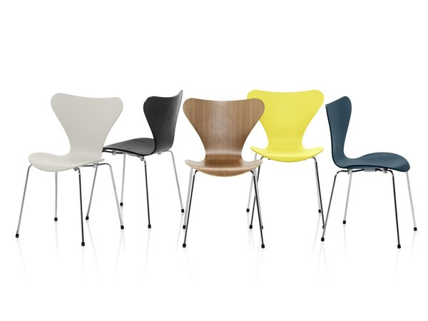 The Series 7 chair, designed by Arne Jacobsen in 1955 and today one of Fritz Hansen's most frequently knocked-off products.
