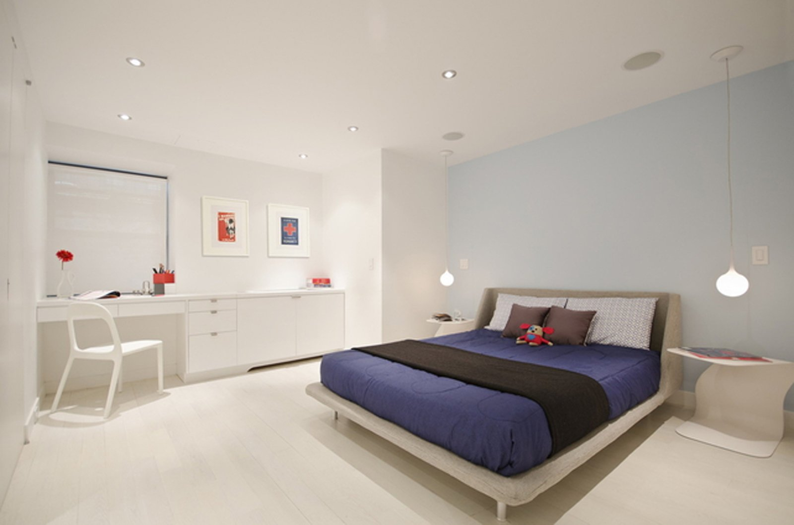 Here's the master bedroom on the lower level. The bed is from Blu Dot and the side table is by Mario Mazzer from Property Furniture.  Blu Dot Spotted by Blu Dot from University Place Apartment