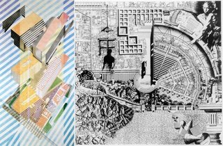 Drawings by Helmut Jahn (left) and Aldo Rossi (right) from The Architectural Review.