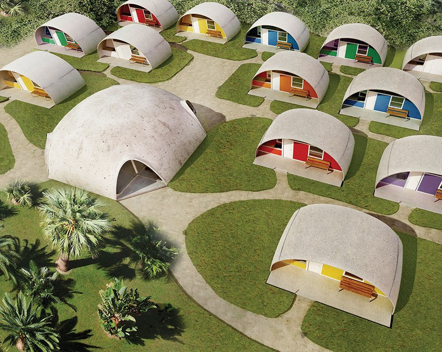 The Italian architect Dante Bini developed the Binishell in the 1960s as a simple affordable-housing alternative for developing countries. The domes were formed by pouring a thin layer of concrete over a membrane and inflating it. Rendering courtesy of Binisystems.