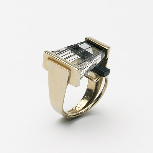 """Margaret De Patta's rutilated-quartz-and-onyx ring from 1954 exhibits the qualities typical of her oeuvre, where the organic, the handmade, and machine-tooled intersect. As Museum of Arts and Design curator Ursula Ilse-Neuman puts it, """"It's very unusual for a jeweler to be that interested in constructivism and the Bauhaus movement."""""""