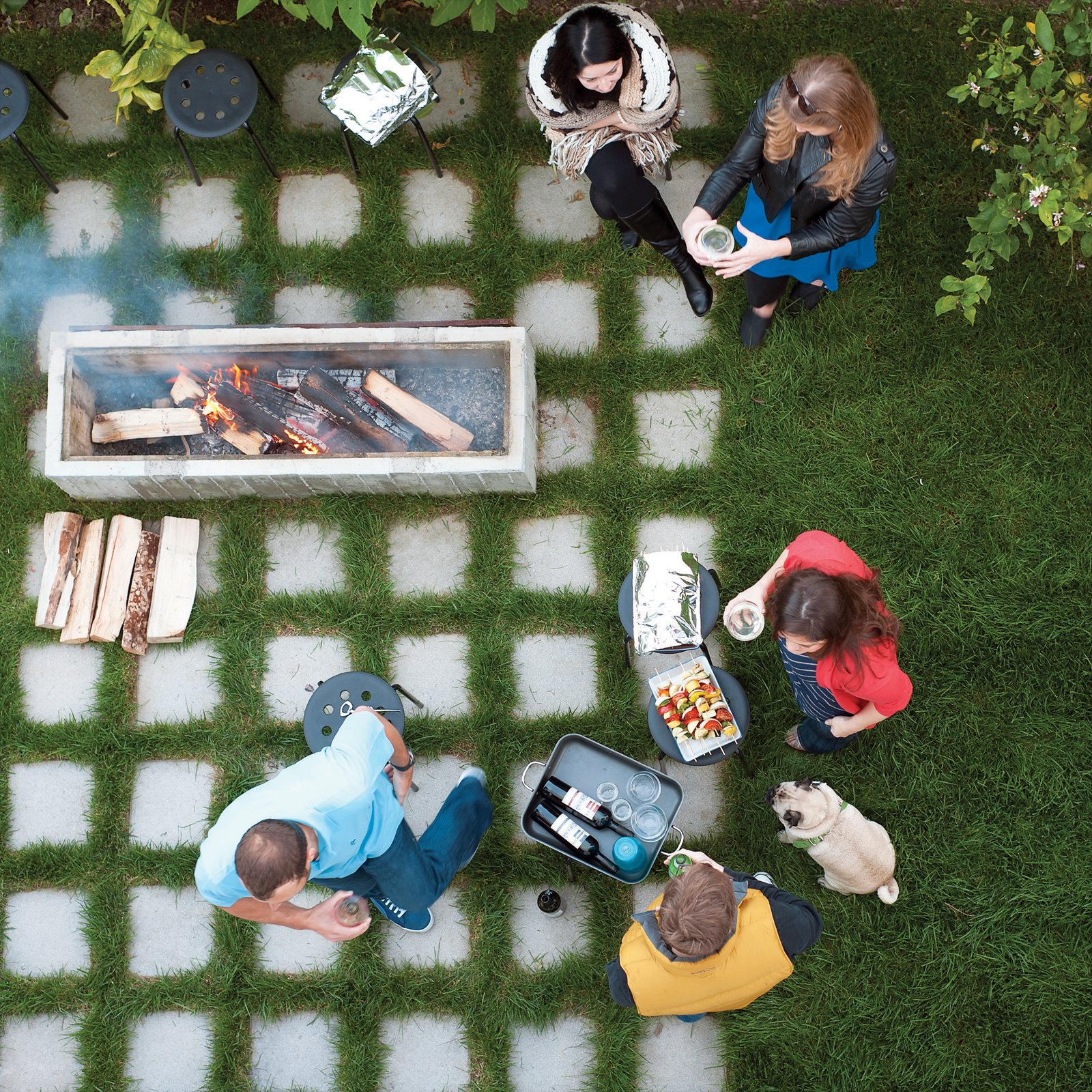 The outdoor fire pit. Tagged: Outdoor, Grass, Pavers Patio, Porch, Deck, and Back Yard.  Photo 8 of 13 in 131-Day House