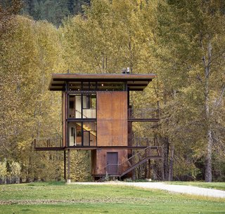 "101 Best Modern Cabins - Photo 76 of 101 - This 1,000 square-foot weekend cabin in Mazama, Washington, is essentially a ""steel box on stilts,"" according to the firm. The three-story structure, which includes a living room and kitchen, can be completely shuttered when the owner is away."