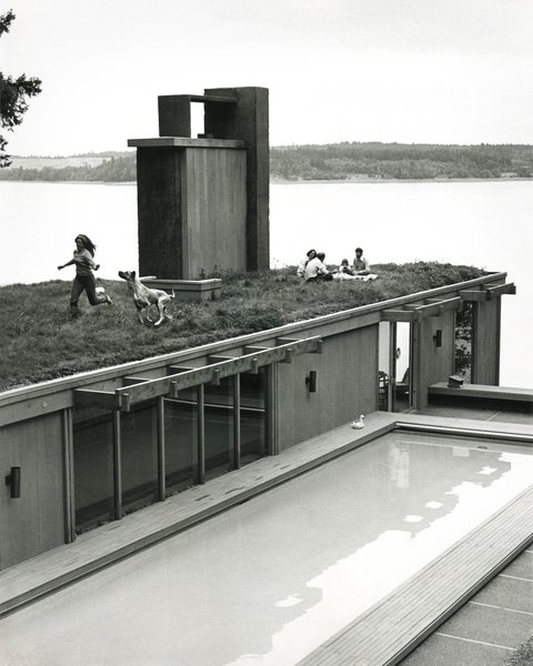 Designed in 1968 for a former U.S. ambassador to Iceland, the Earth House in Longbranch, Washington, was inspired by the sod-roof houses common in Reykjavik. The house, which was cut into a hillside, and pool were sited to capture views of Mount Rainier.