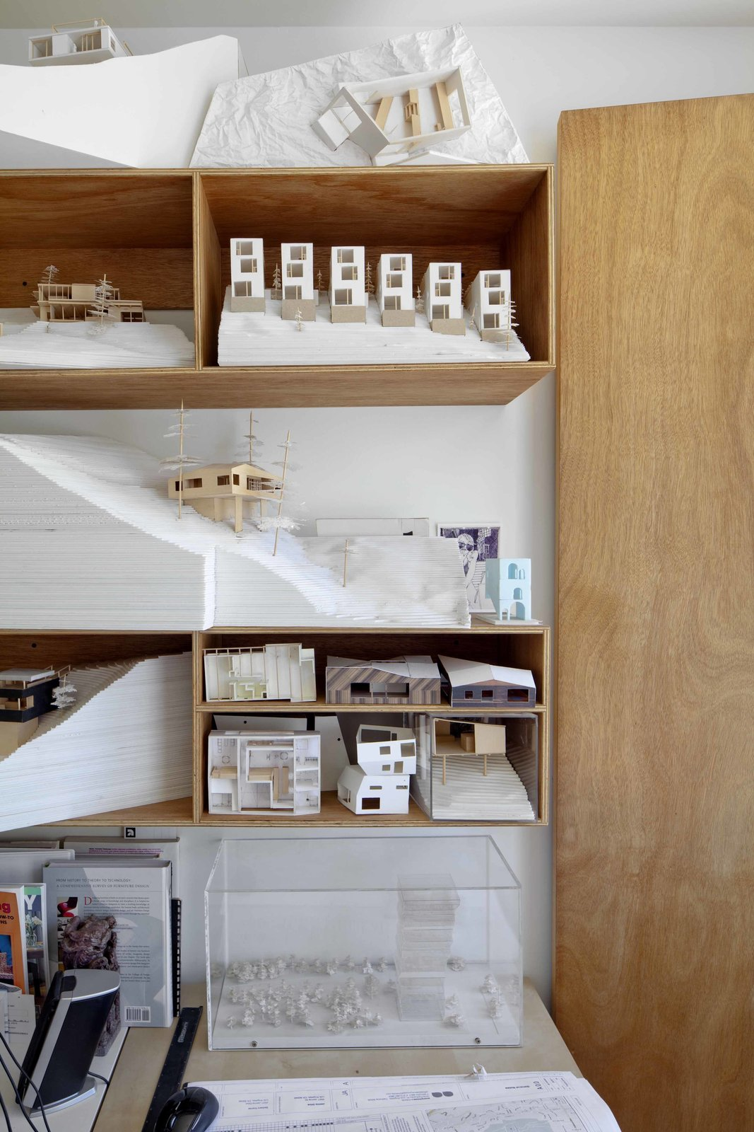 The Anonymous office on the third floor holds a display of Storey's beloved hand-made basswood and foam-core models. Tagged: Office, Storage, and Shelves.  Photo 7 of 9 in Home and Studio Maximizes Very Narrow Site in Echo Park