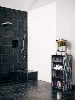 The Tiny Hollywood Home of Mad Men's Vincent Kartheiser - Photo 4 of 13 - Roberts found the Montauk black slate, which he continued in a second bath.